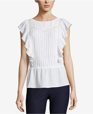 ECI Lace-Trim Peplum Top