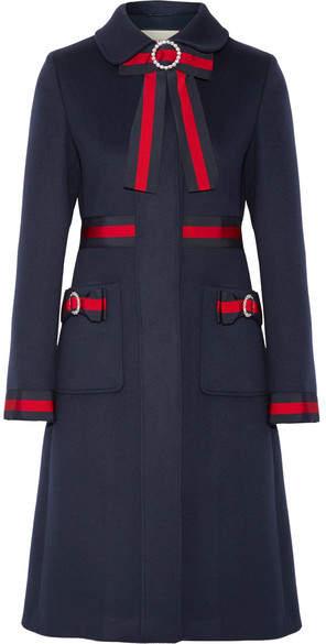 Gucci - Embellished Grosgrain-trimmed Wool Coat - Navy