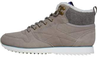 d9ca43ad1d0 Reebok Classics Womens Leather Mid Outdoor Trainers Beach  Stone Chalk Diffused Blue Cliff