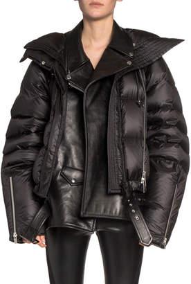 Sacai Leather Moto Layered Puffer Coat