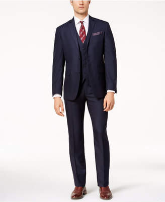 Perry Ellis Men's Slim-Fit Blue Tonal Grid-Pattern Vested Stretch Suit