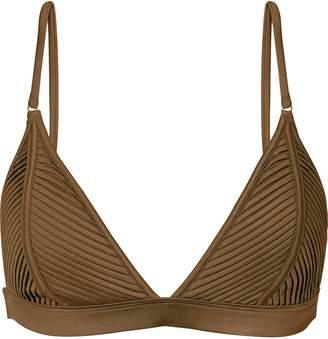 Reiss Raquel - Pleat Detail Bikini Top in Khaki