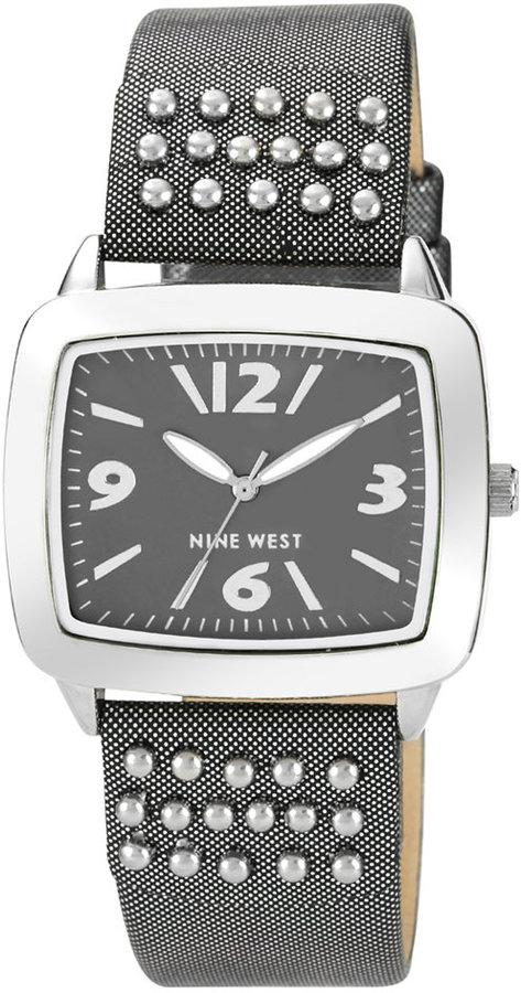 Nine West Watch, Women's Dark Gray Metallic Microfiber Polyurethane Strap 31x36mm NW-1211GYGM