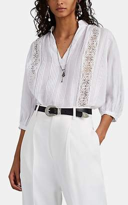Frame Women's Lace-Inset Pleated Voile Blouse - White