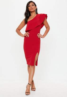 Missguided Red Scuba One Shoulder Midi Dress