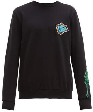 Artist Studio Embroidered Cotton Sweatshirt - Mens - Black