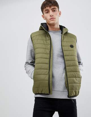 D-Struct Quilted lightweight hooded puffer vest fine nylon