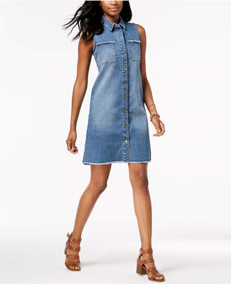 Style&Co. Style & Co Petite Frayed Denim Sleeveless Shirtdress, Created for Macy's