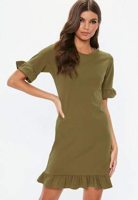 Missguided Khaki Frill Detail Short Sleeve Shift Dress, Khaki
