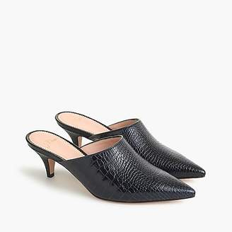 J.Crew Kitten-heel mules in croc-stamped leather