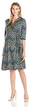 Everly Grey Women's Mila Maternity & Nursing 3/4 Sleeve Wrap Tie Dress