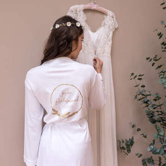 Sparks And Daughters Personalised Feather Hoop Wedding Dressing Gown