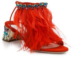 Miu Miu Jeweled Metallic Heel Suede & Feather Sandals