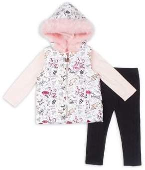 Betsey Johnson Baby Girl's Three-Piece Glam Faux Fur Vest Set