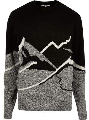 Bellfield Mens black mountain Christmas sweater