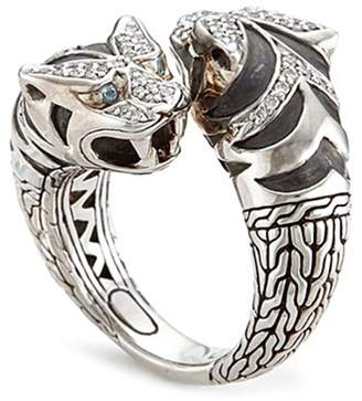 John Hardy Diamond topaz silver double tiger ring
