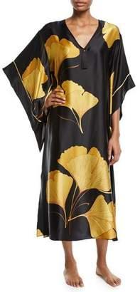 Josie Natori Ginkgo Butterfly Silk Caftan