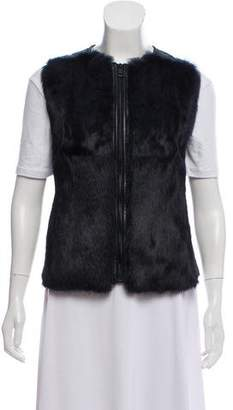Vince Fur-Trimmed Leather Vest w/ Tags