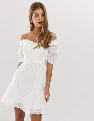 Forever New broderie sweetheart neck bardot mini dress