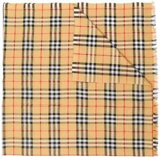 Burberry Metallic Vintage Check Wool Silk Blend Scarf