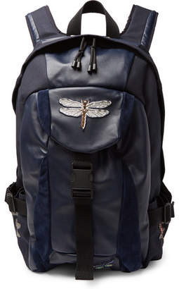 Valentino Appliquéd Leather, Suede And Canvas Backpack
