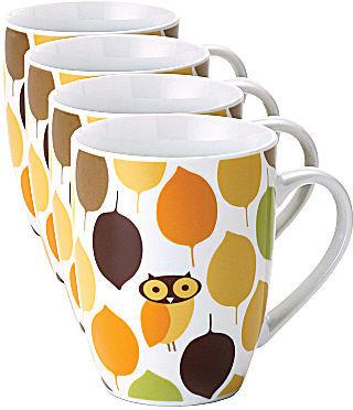 Rachael Ray Set of 4 Little Hoot Mugs