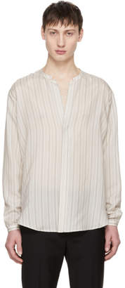 Saint Laurent White Striped Tunisian Collar Shirt