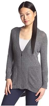 Cashmere Addiction Women's High-Low Zipper Cardigan