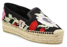 Alexander McQueenAlexander McQueen Floral-Embroidered Platform Espadrille Flats