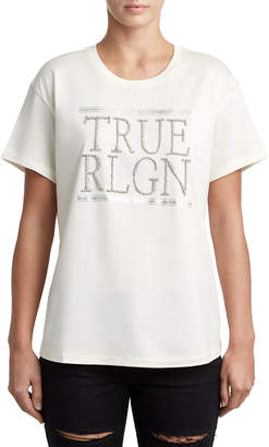 True Religion WOMENS METALLIC CHAIN LOGO TEE