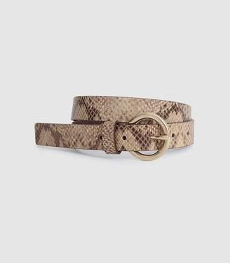 Reiss ANABELLE LEATHER SNAKE PRINTED BELT Neutral