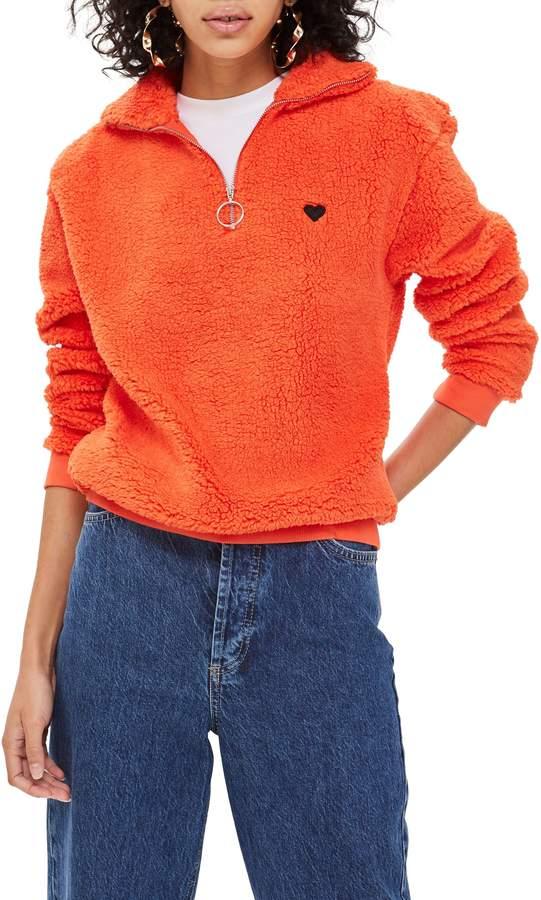 Topshop Borg Heart Quarter Zip Pullover