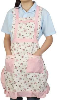 Unique Bargains Home Kitchen Dual Pocket Floral Pattern Self Tie Bib Cooking Working Apron