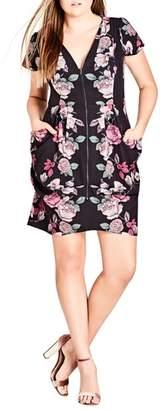 City Chic Mirror Mirror Floral Tunic Dress