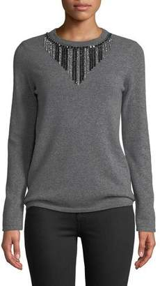 Neiman Marcus Embellished-Front Cashmere Pullover Sweater