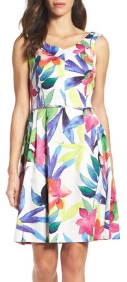 Women's Ellen Tracy Pleated Fit & Flare Dress $128 thestylecure.com