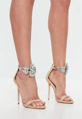 Missguided Nude Teardrop Embellished Heeled Sandals