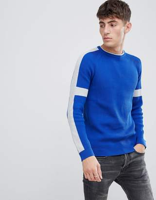 Esprit ribbed knitted jumper with sleeve stripe