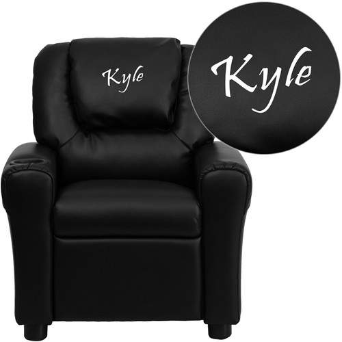 Flash Furniture Deluxe Contemporary Personalized Kids Leather Recliner Cup Holder