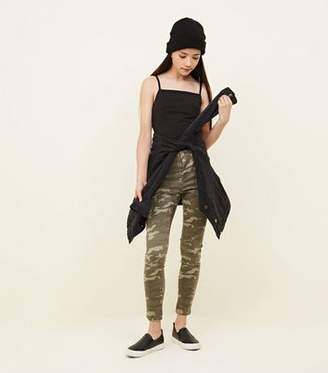 New Look Girls Khaki Camo Print Skinny Jeans