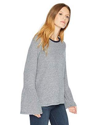 Lucky Brand Women's Stripe Bell Sleeve Peasant TOP