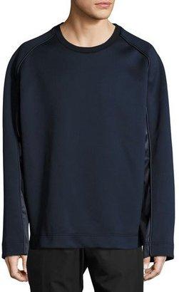 Juun J Satin & Neoprene Crewneck Sweatshirt, Navy $425 thestylecure.com