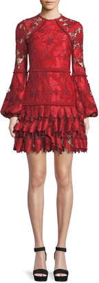 Alexis Fransisca Floral Lace Blouson-Sleeve Dress