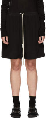 Rick Owens Black Silk Crepe Shorts
