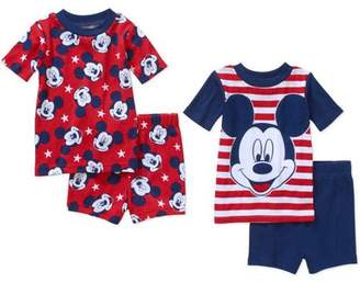 N. Mickey Mouse Infant Baby Boy' Mix n' Match Short Sleeve Cotton Tight Fit Pajamas, 4-Pieces