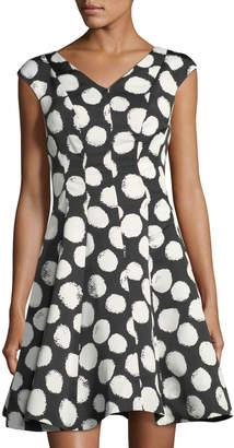 Julia Jordan V-Neck Polka-Dot Fit-and-Flare Dress $99 thestylecure.com