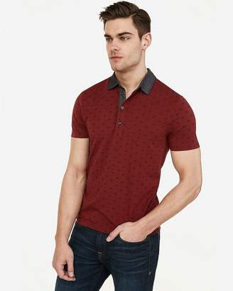 Express Printed Moisture-Wicking Chambray Collar Stretch Polo