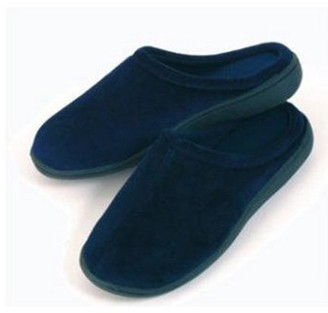 Deluxe Comfort Men's Indoor/Outdoor Slip-On Memory Foam House Slippers, Small Durable Non-Marking Rubber Sole Comfortable Foam Cushioning Warm and Cozy Men's Slippers, Blue
