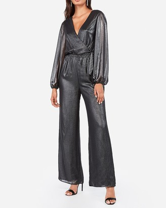 Express Metallic Surplice Side Tie Wide Leg Jumpsuit