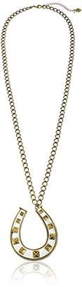 "Betsey Johnson Throwback Betsey"" Large Studded Horse Shoe Long Pendant Necklace"